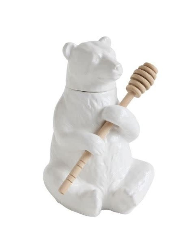 """7"""" Ceramic Bear Honey Pot w/ Honey Dipper"""