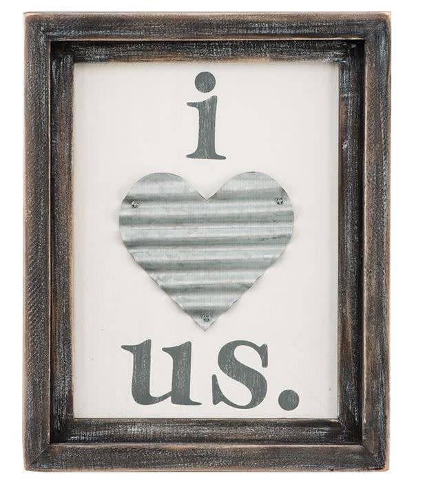 Love Us Tin Heart Board