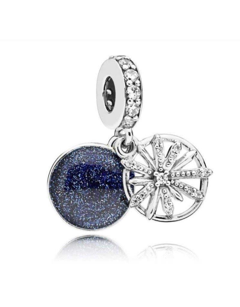 Pandora Jewelry Dangle Dazzling Wishes, Clear CZ & Blue Enamel
