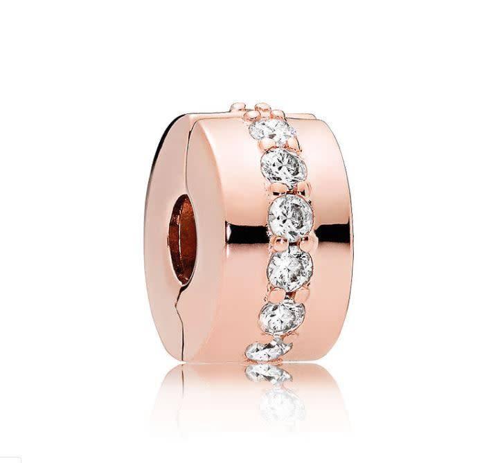 Pandora Jewelry Clip Shining Path, Clear ROSE
