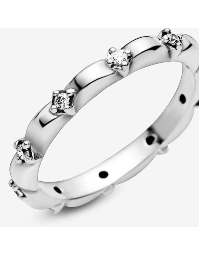 Pandora Jewelry Ring Flower Petals Band, Clear CZ