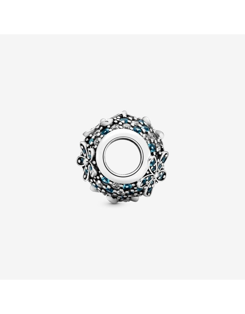 Pandora Jewelry Charm Teal Pave Daisy Flower, Teal Crystals & Clear CZ