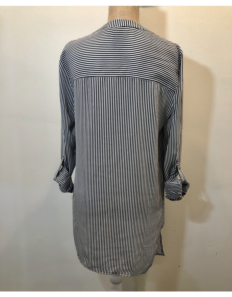 Laced Front Black Striped Top