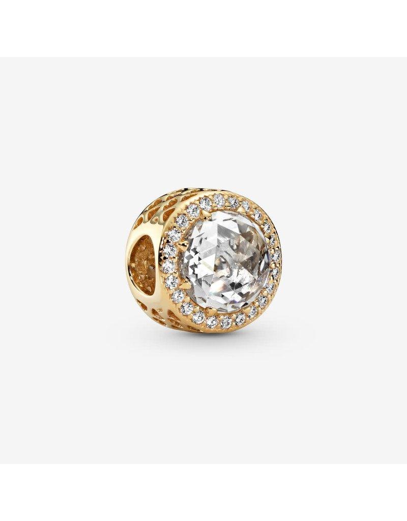Pandora Jewelry Charm Gold Radiant Hearts CZ RETIRED