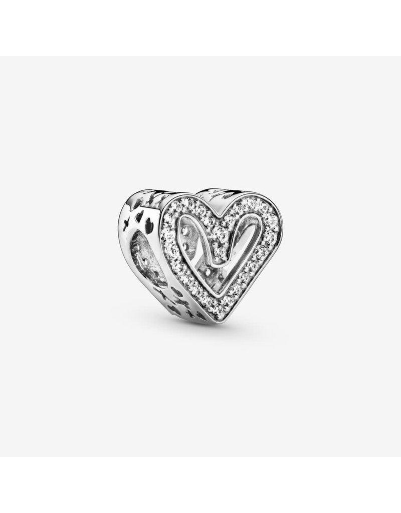 Pandora Jewelry Charm Sparkling Freehand Heart, Clear CZ
