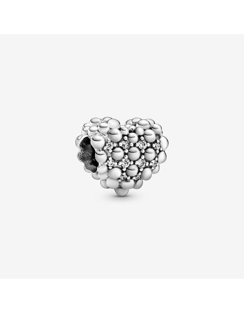 Pandora Jewelry Charm Beaded Sparkling Heart, Clear CZ