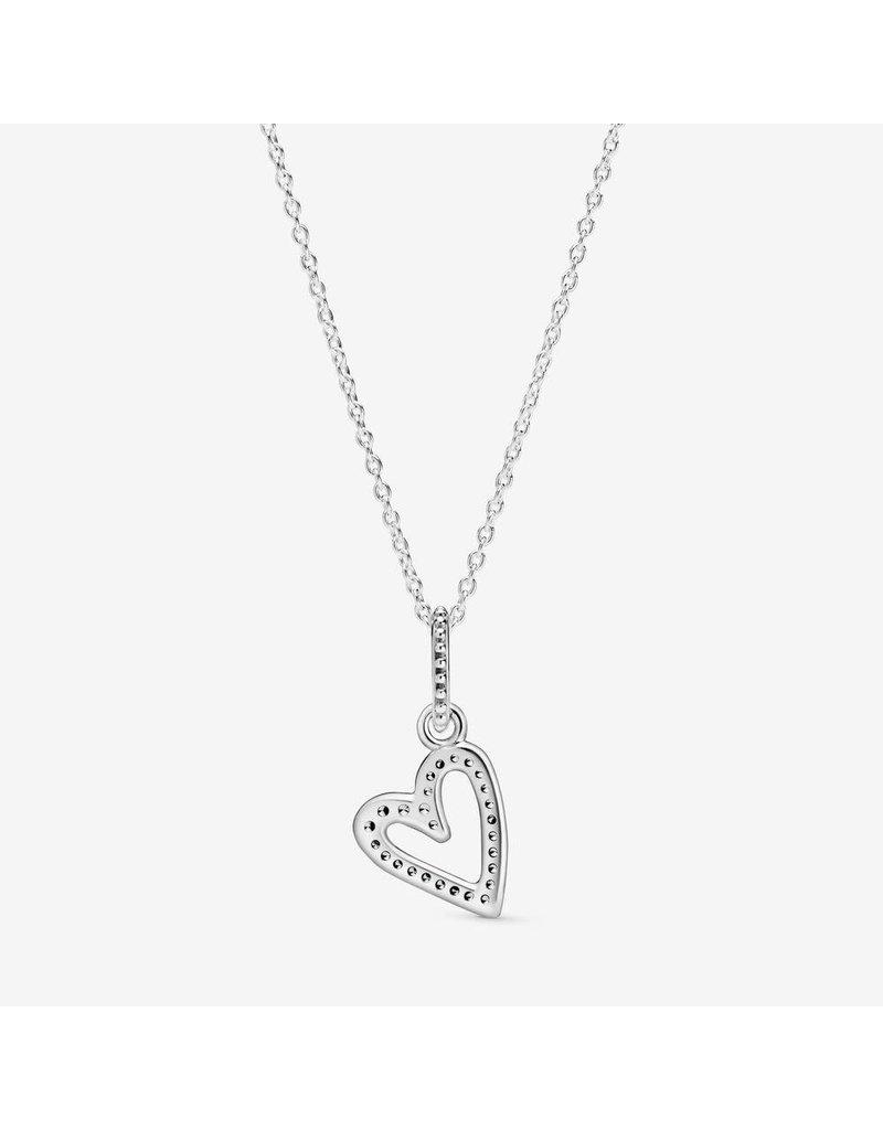 Pandora Jewelry Necklace Sparkling Freehand Heart, Clear CZ