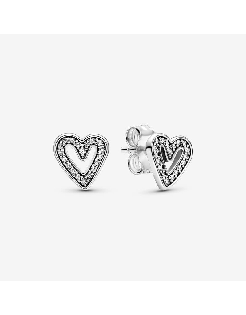 Pandora Jewelry Earring Sparkling Freehand Heart, Clear CZ