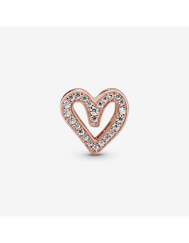 Pandora Jewelry Charm ROSE Sparkling Freehand Heart, Clear CZ