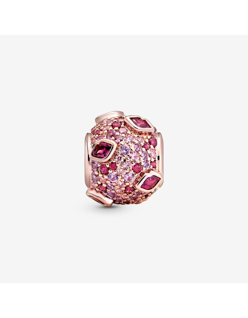 Pandora Jewelry Charm ROSE Kiss Pave, Red CZ, Pink Synthetic Sapphire & Crystal RETIRED
