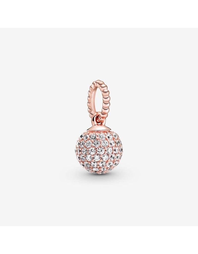 Pandora Jewelry Pendant ROSE Pave Ball, Clear CZ