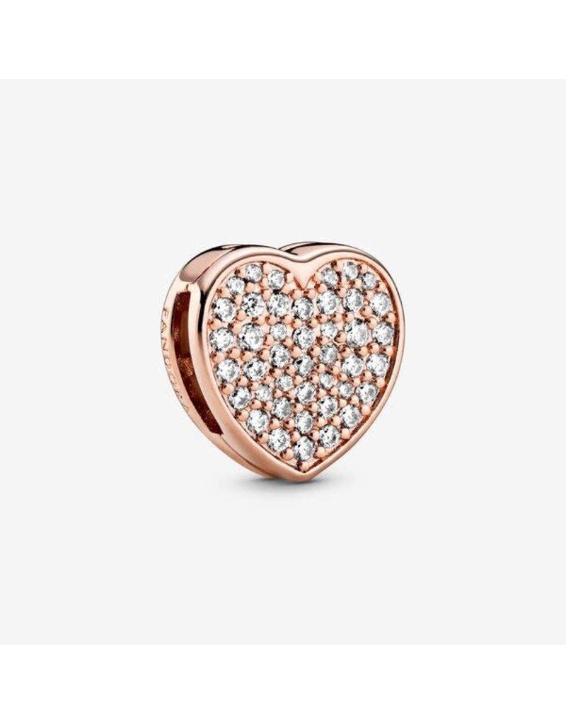 Pandora Jewelry Charm Reflexions ROSE Pave Heart, Clear CZ