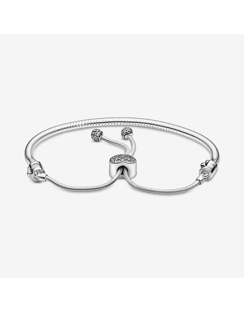 Pandora Jewelry Bracelet Sliding Pave Heart Clasp, Clear CZ
