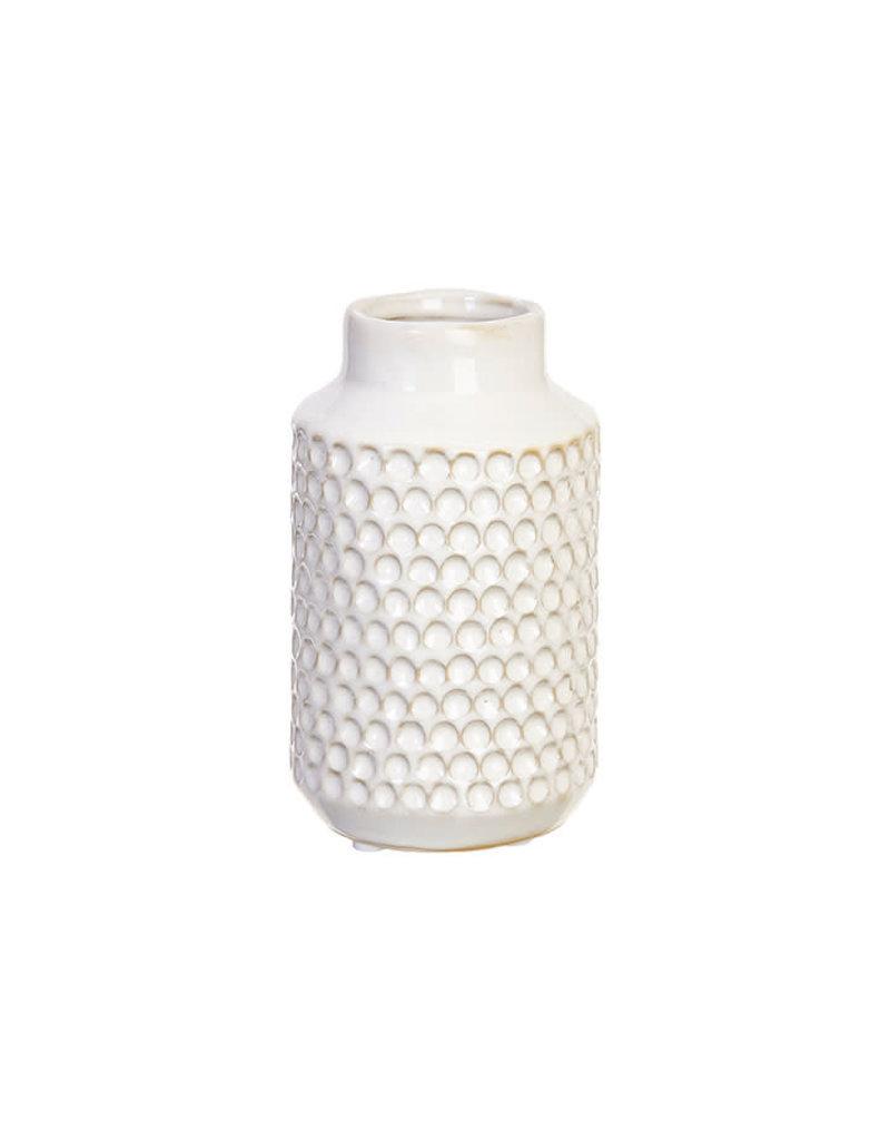 6.5in White Textured Vase