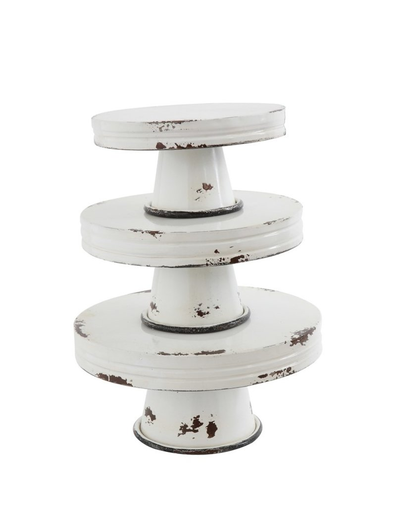 White Distressed Metal Pedestal