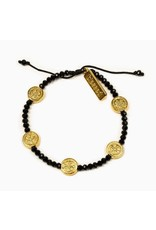My Saint My Hero Gratitude Crystal Bracelet - Gold/Black