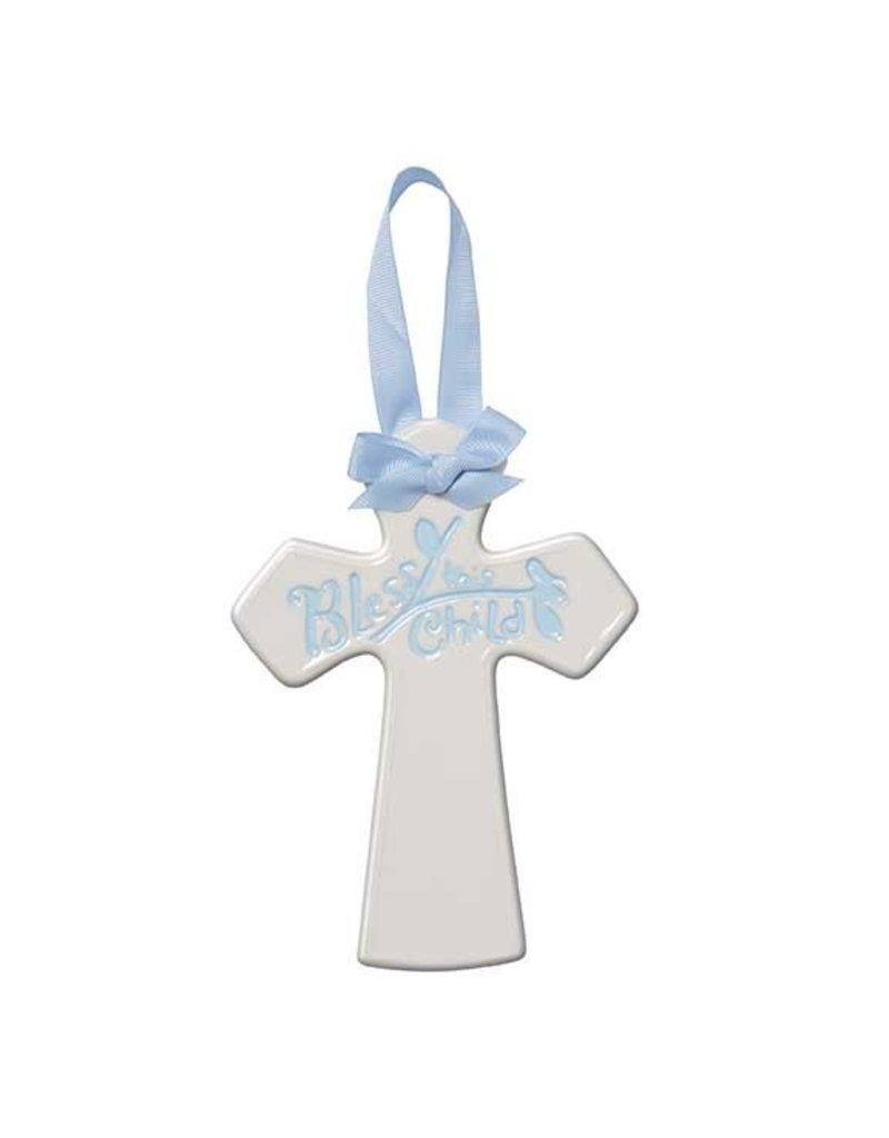 Blue Ceramic Nursery Cross