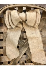 "Natural Burlap 4x10"" Bow"
