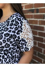 Simply Southern Tees Lace Sleeve Snow Leopard Dress