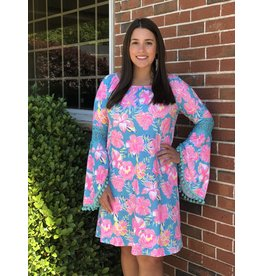 Simply Southern Tees Bell Sleeve Dress With Pom Poms