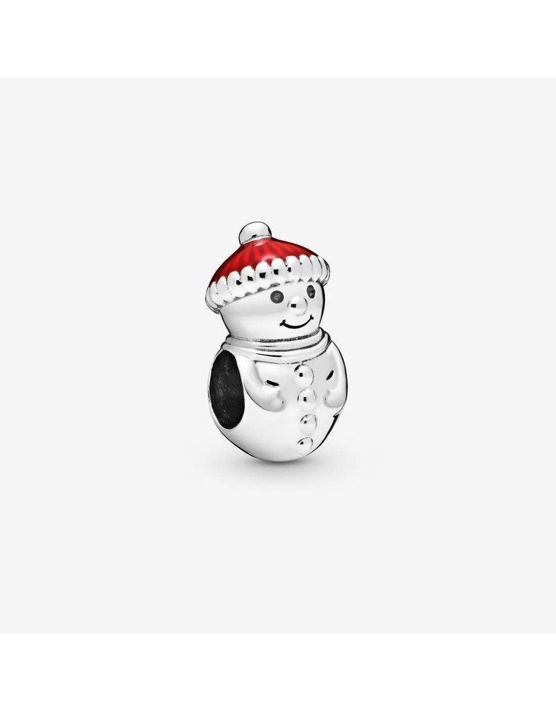 Pandora Jewelry Charm Snowman & Winter Hat, Red Enamel