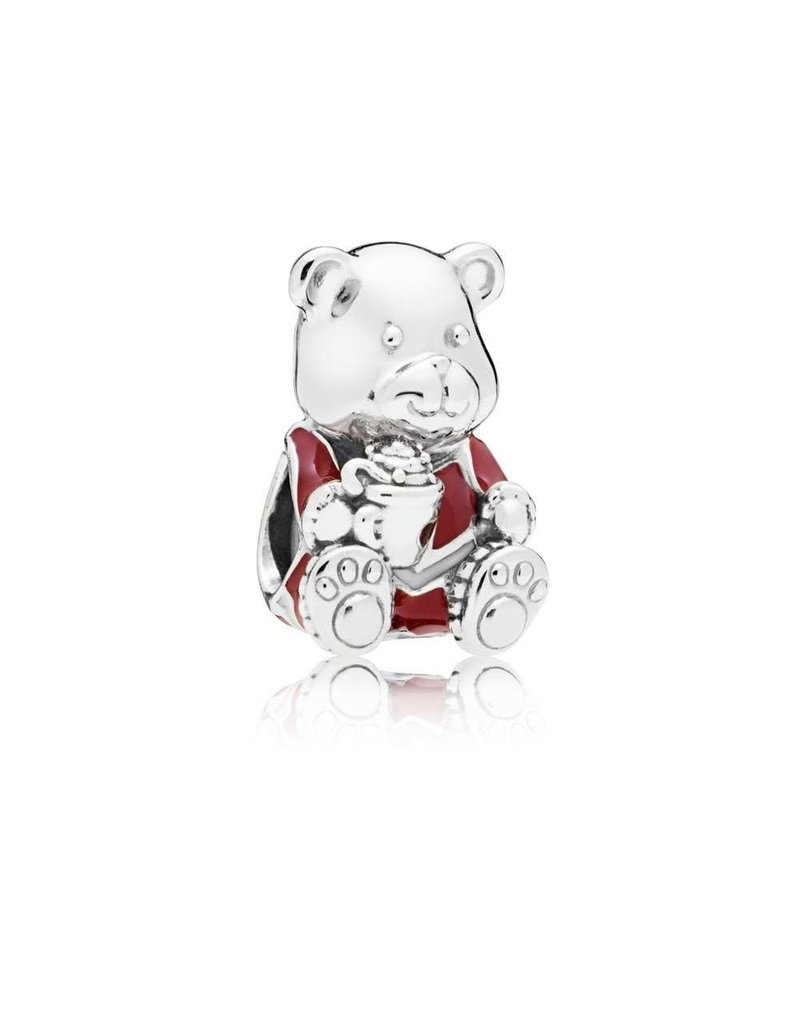 Pandora Jewelry Charm Christmas Bear, Red & White Enamel RETIRED