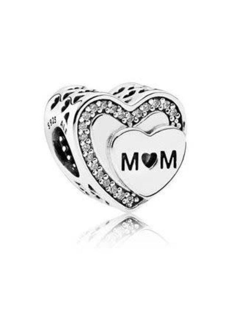 Pandora Jewelry Tribute To MOM Charm, Clear CZ