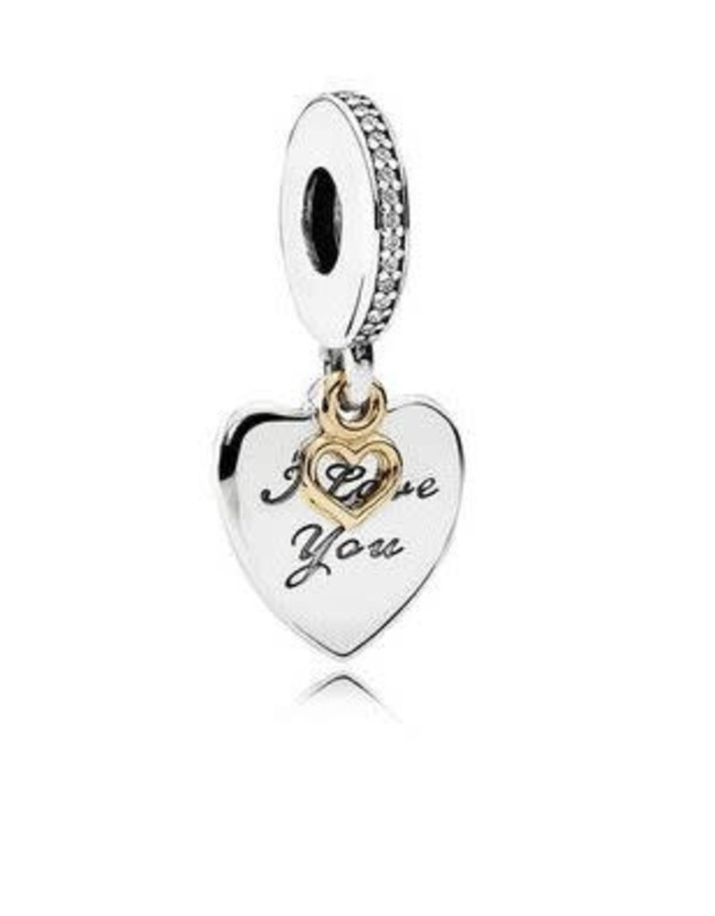 Pandora Jewelry I Love You Forever Dangle Charm, Clear CZ & 14k Gold