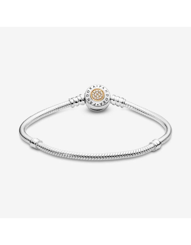 Pandora Jewelry Signature Logo Clasp Bracelet, Clear CZ & 14k Gold
