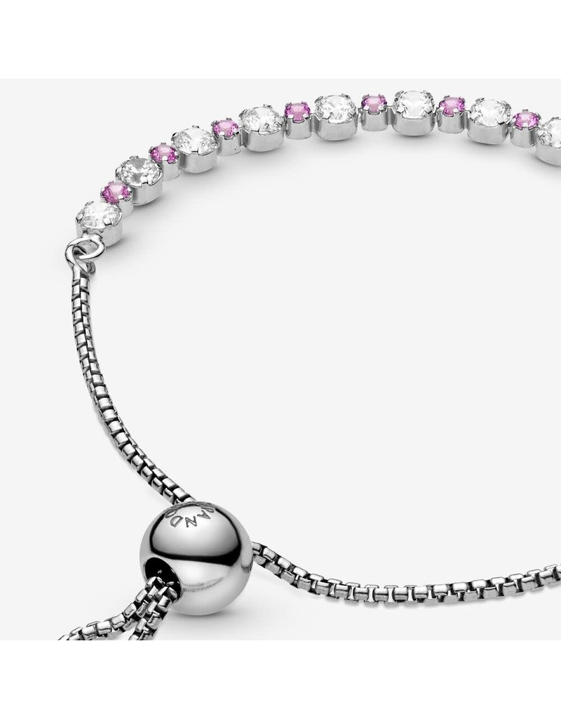 Pandora Jewelry Pink & Clear Sparkle Sliding Bracelet, Synthetic Pink Sapphire & Clear CZ