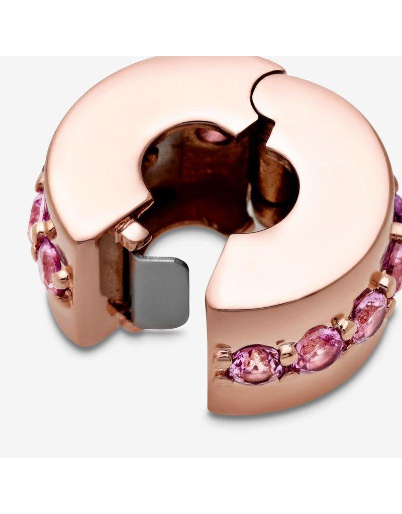 Pandora Jewelry Pandora Rose Pink Sparkling Row Clip, Synthetic Pink Sapphire
