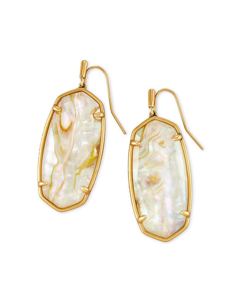 Kendra Scott Elle Faceted Earring Vintage Gold White Abalone