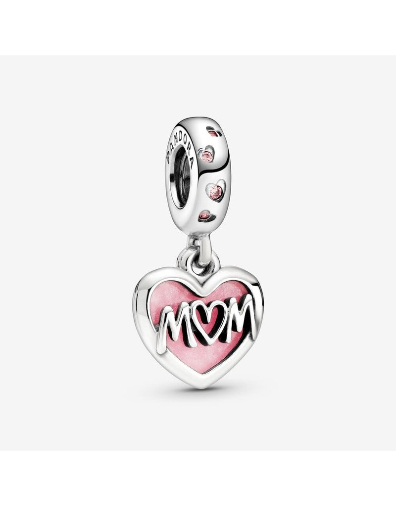 Pandora Jewelry Mom Script Heart Dangle Charm, Pink Enamel & Clear CZ