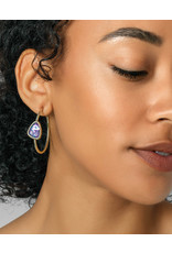 Kendra Scott Margot Hoop Earring Gold Lilac Abalone