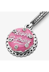 Pandora Jewelry Pink Birthday Cake Dangle Charm, Pink Enamel & Clear CZ