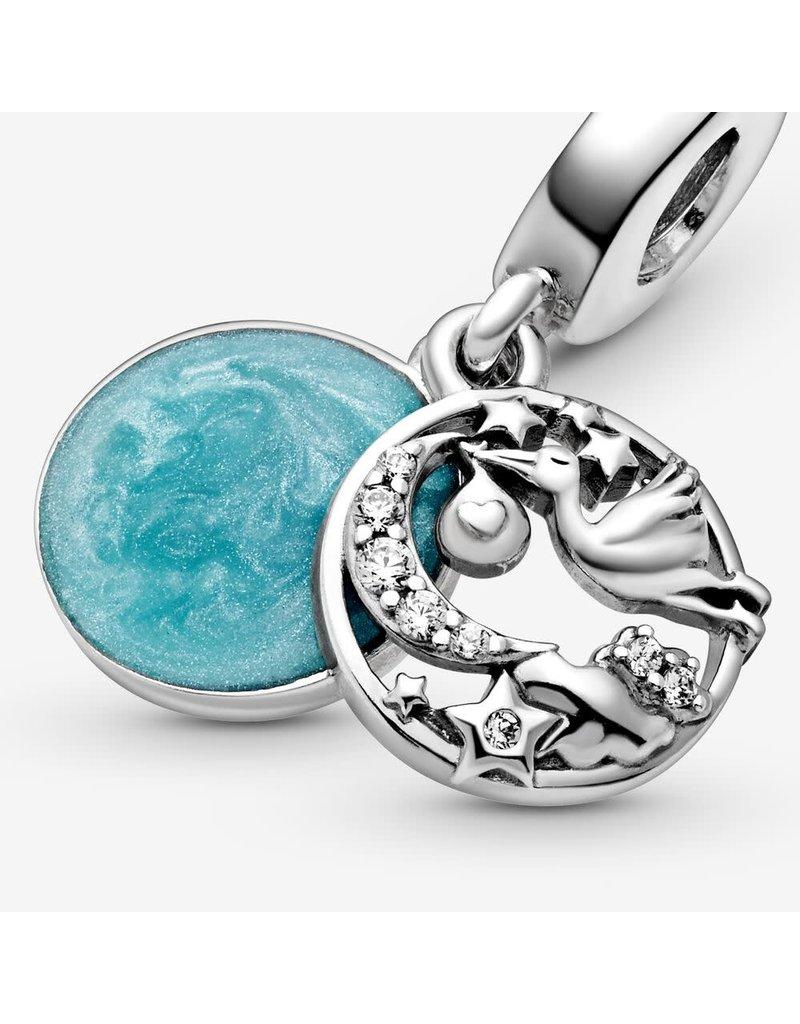 Pandora Jewelry Stork & Twinkling Stars Dangle Charm, Blue Enamel & Clear CZ
