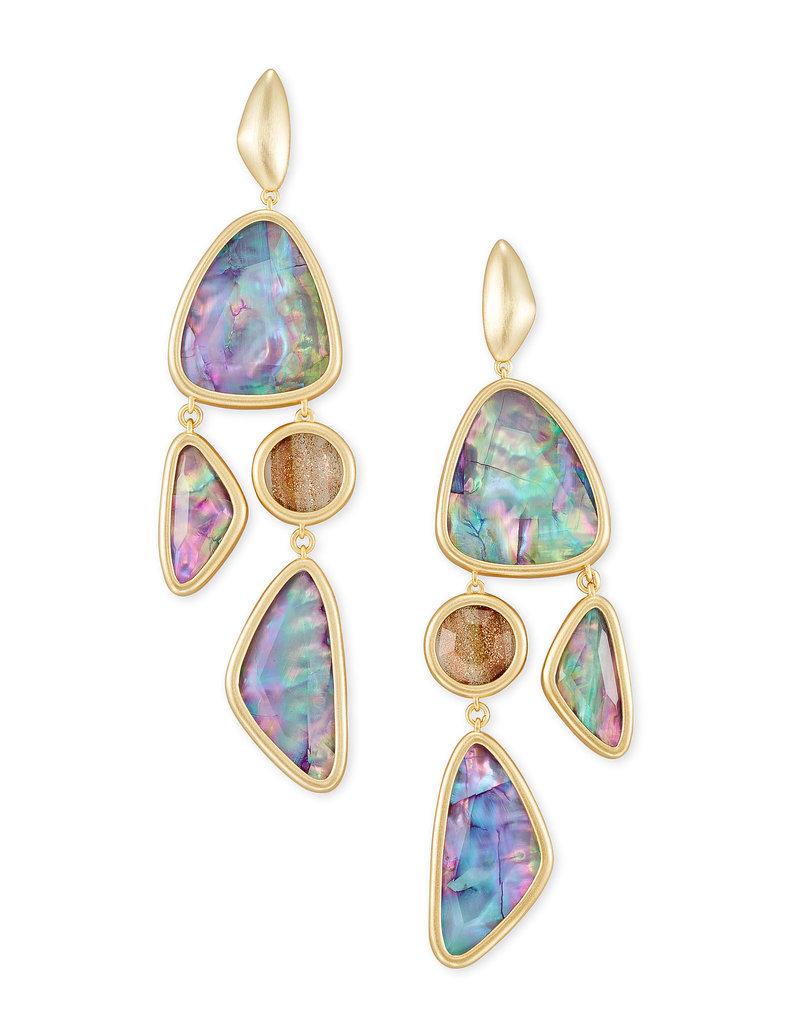 Kendra Scott Margot Statement Earring Gold Lilac Abalone