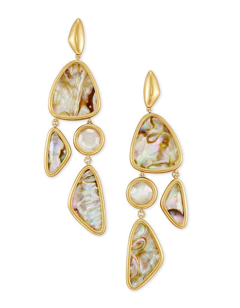 Kendra Scott Margot Statement Earring Vintage Gold White Abalone