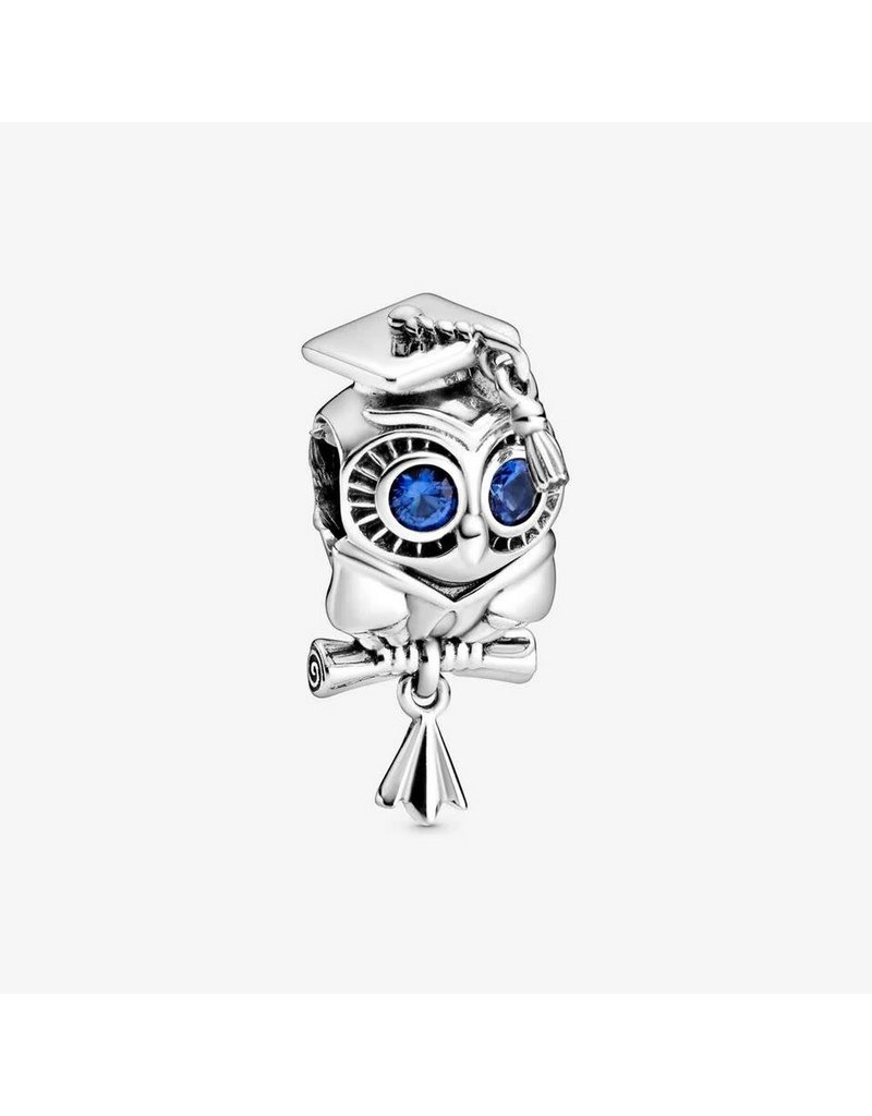 Pandora Jewelry Wise Owl Graduation Charm, Blue Crystal