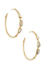 Kendra Scott Ivy Hoop Earring Vintage Gold White Abalone