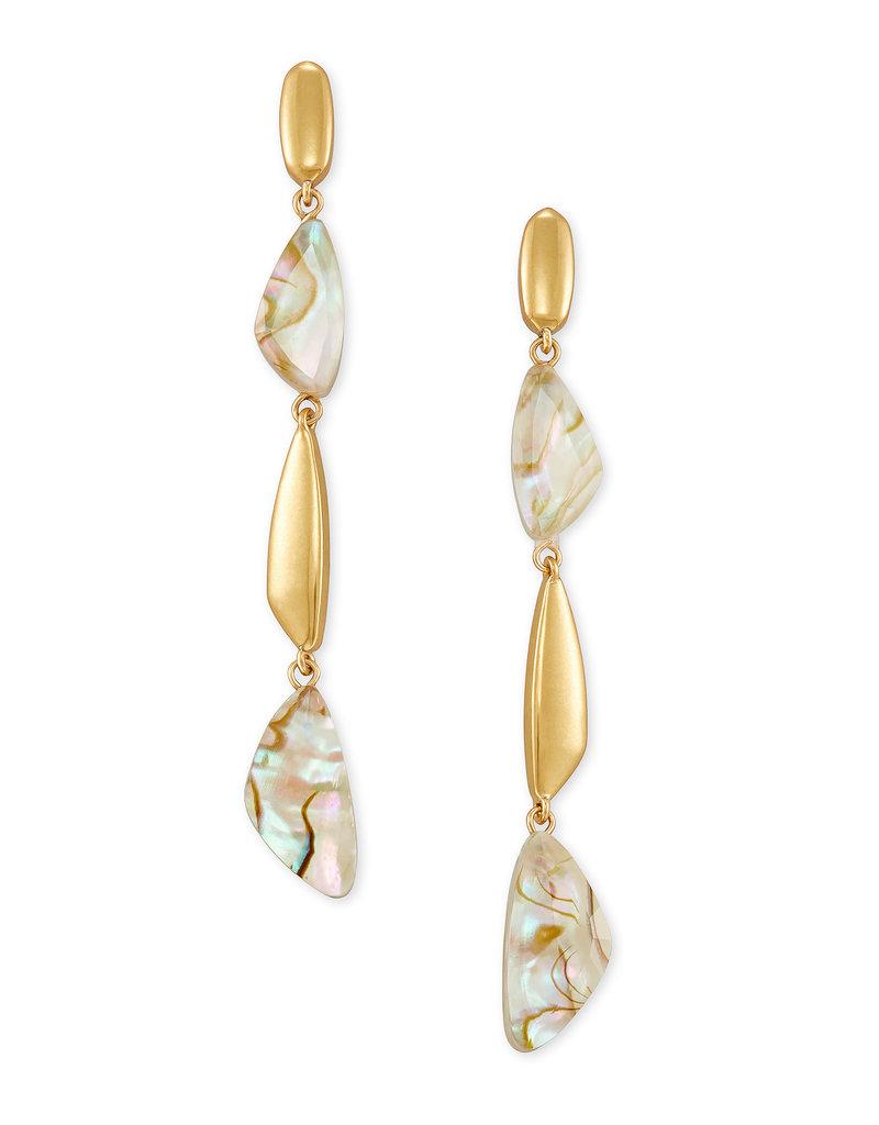 Kendra Scott Ivy Linear Earring Vintage Gold White Abalone