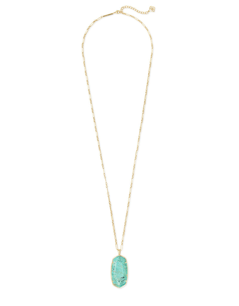 Kendra Scott Reid Faceted Necklace Gold Sea Green Chrysocolla