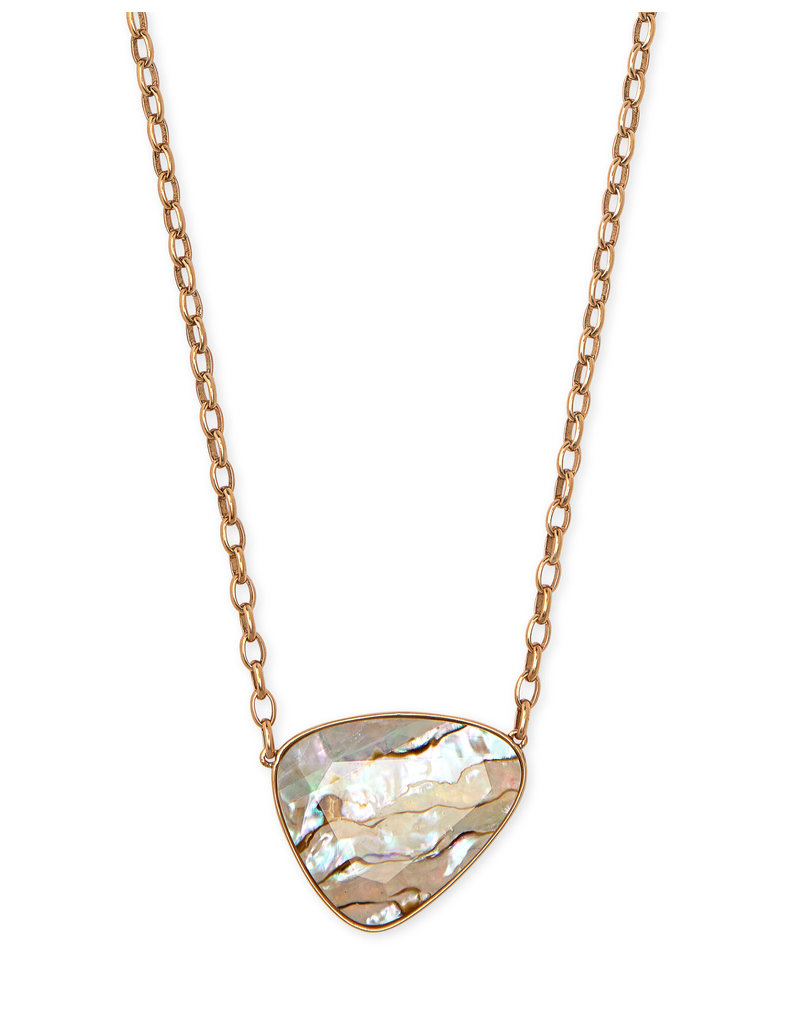 Kendra Scott Mckenna Pendant Necklace Vintage Gold White Abalone