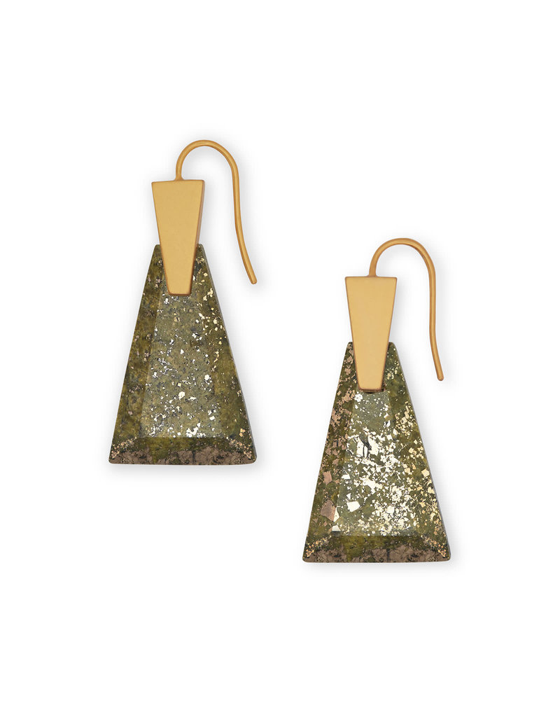 Kendra Scott Collins Small Drop Earring Vintage Gold Olive Epidote