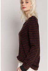 Striped Long Sleeve Crew Neck Top
