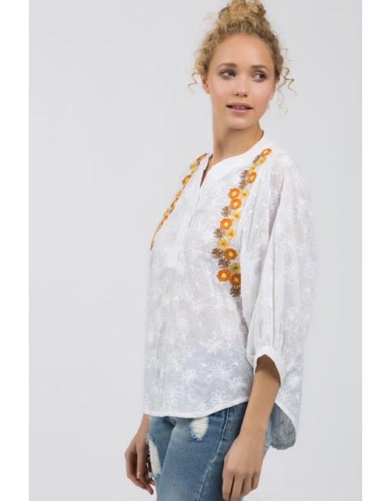 Floral Embroidered Bell Sleeve Top