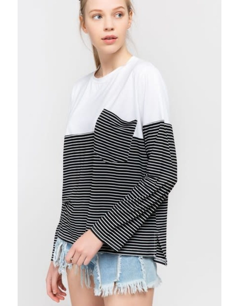 Long Sleeve Top With Stripe & Pocket Detail