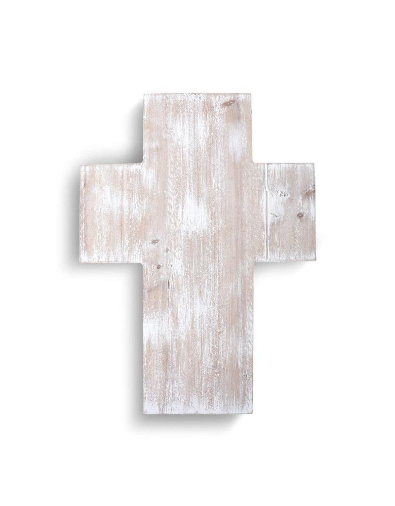 Whitewashed Wood Cross Large