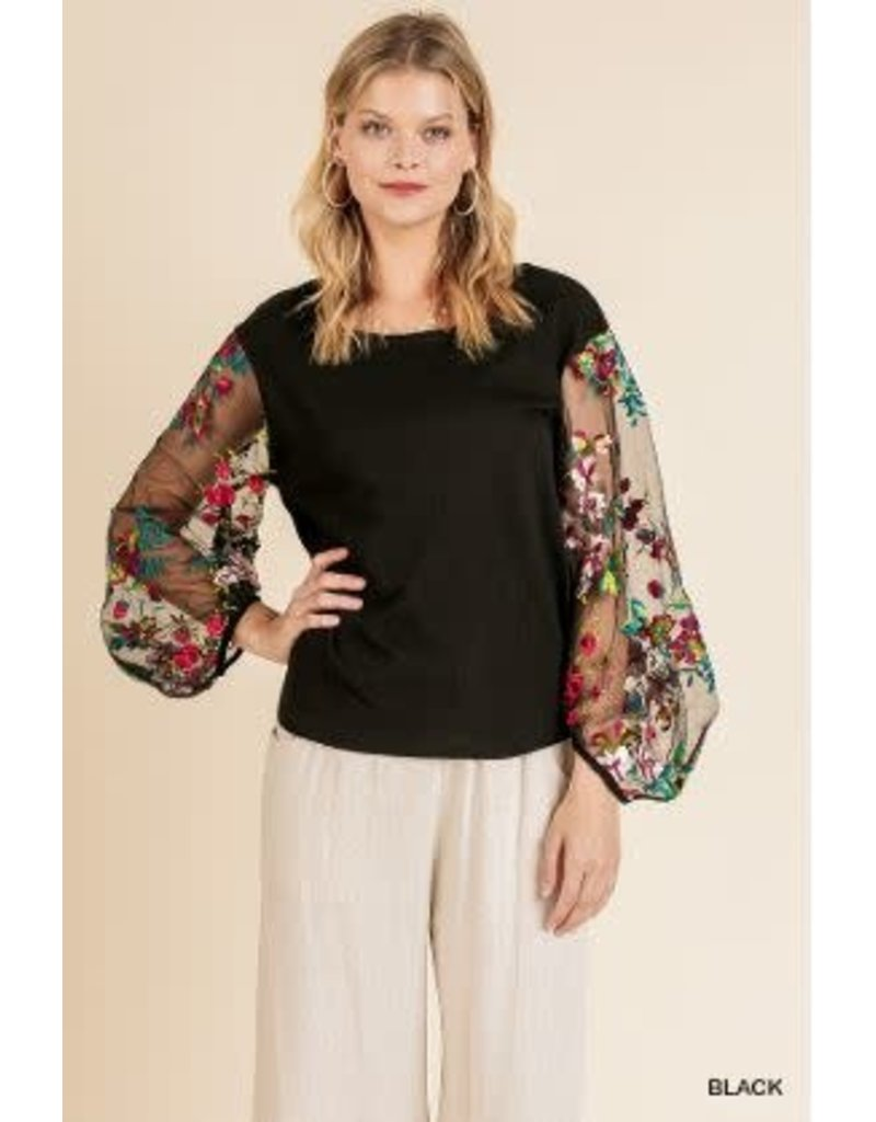 Embroidered Sheer Puff Sleeve Top