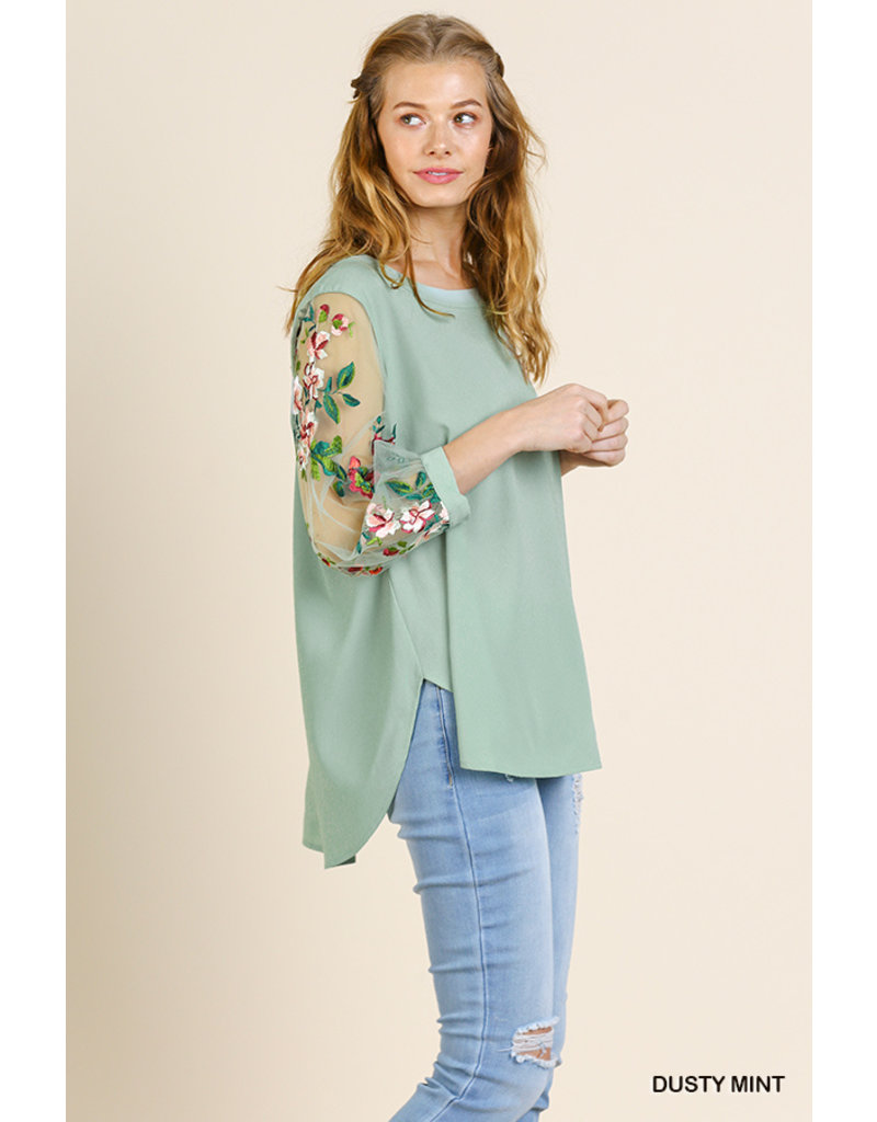 High Low Top With Embroidered Sheer Sleeve